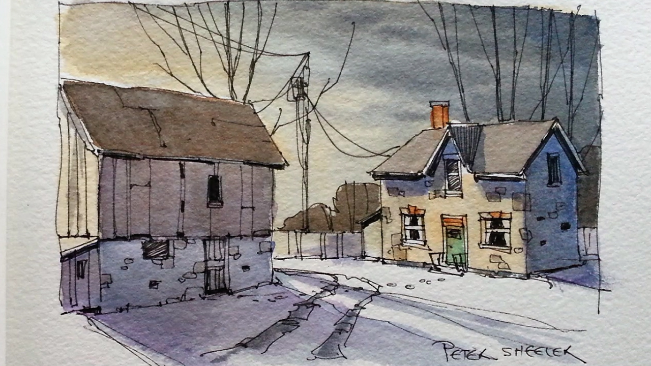 Line Drawing With Watercolor : Draw and paint a farm at dusk line wash watercolor