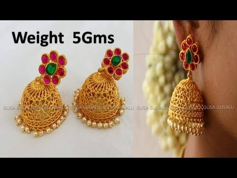 bridal gold earrings designs with weight and price gold