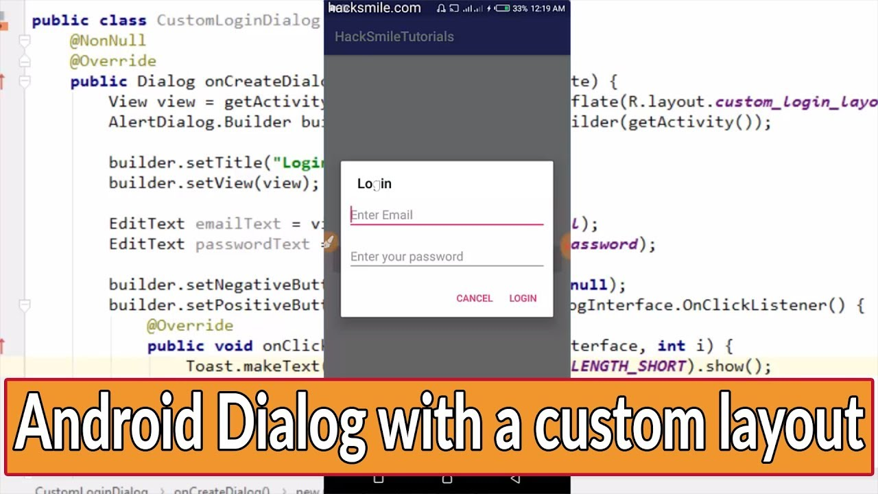 dialog with custom layout android