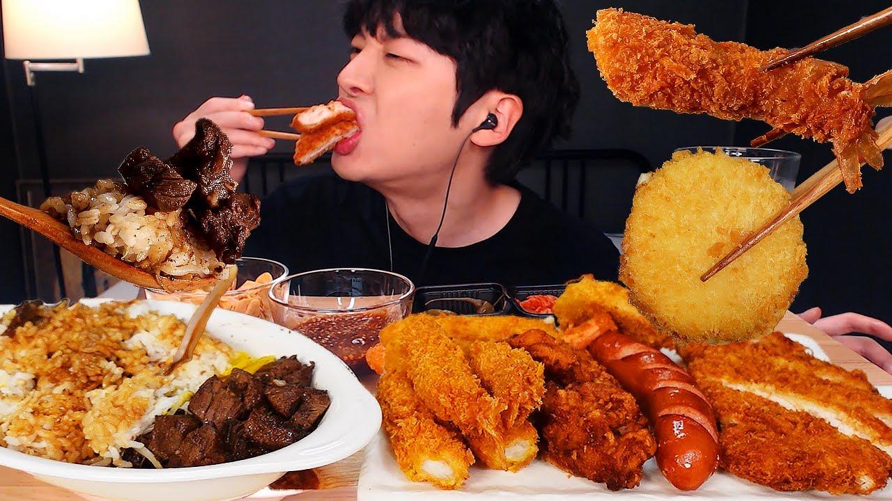 MUKBANG 바삭 스페셜 조합 먹방! 큐브 스테이크 덮밥 & 돈까스 & 소세지 & 치즈고로케 & 새우튀김 & 게살튀김 & 치킨 STEAK & FRIED EATING SOUND