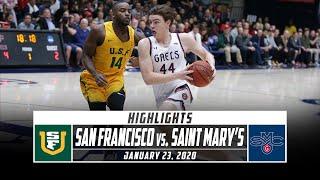 San Francisco Vs. Saint Mary's Basketball Highlights  2019-20  | Stadium