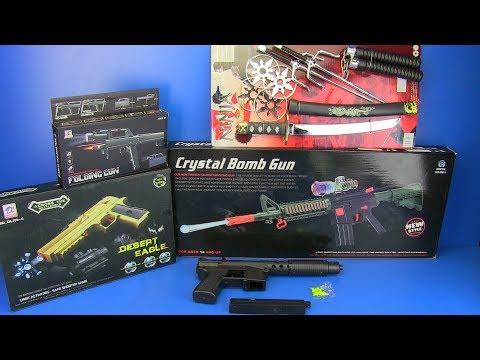 Box Of Toys - Guns Toys !!! Crystal Bomb Gun  I Folding Gun ,NINJA Weapons