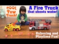 Kids' TOY TRUCKS! RC Fire Truck that Shoots Water and a Tow Truck Unboxing & Playtime Fun