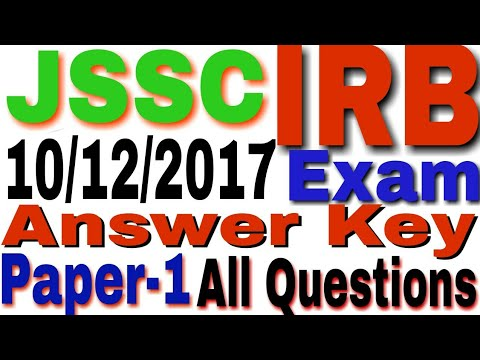 JSSC IRB ANSWER KEY 10th December 2017 all Questions  GK/GS