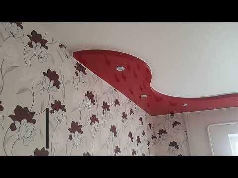 Двухуровневый натяжной потолок волна установка г. Минск