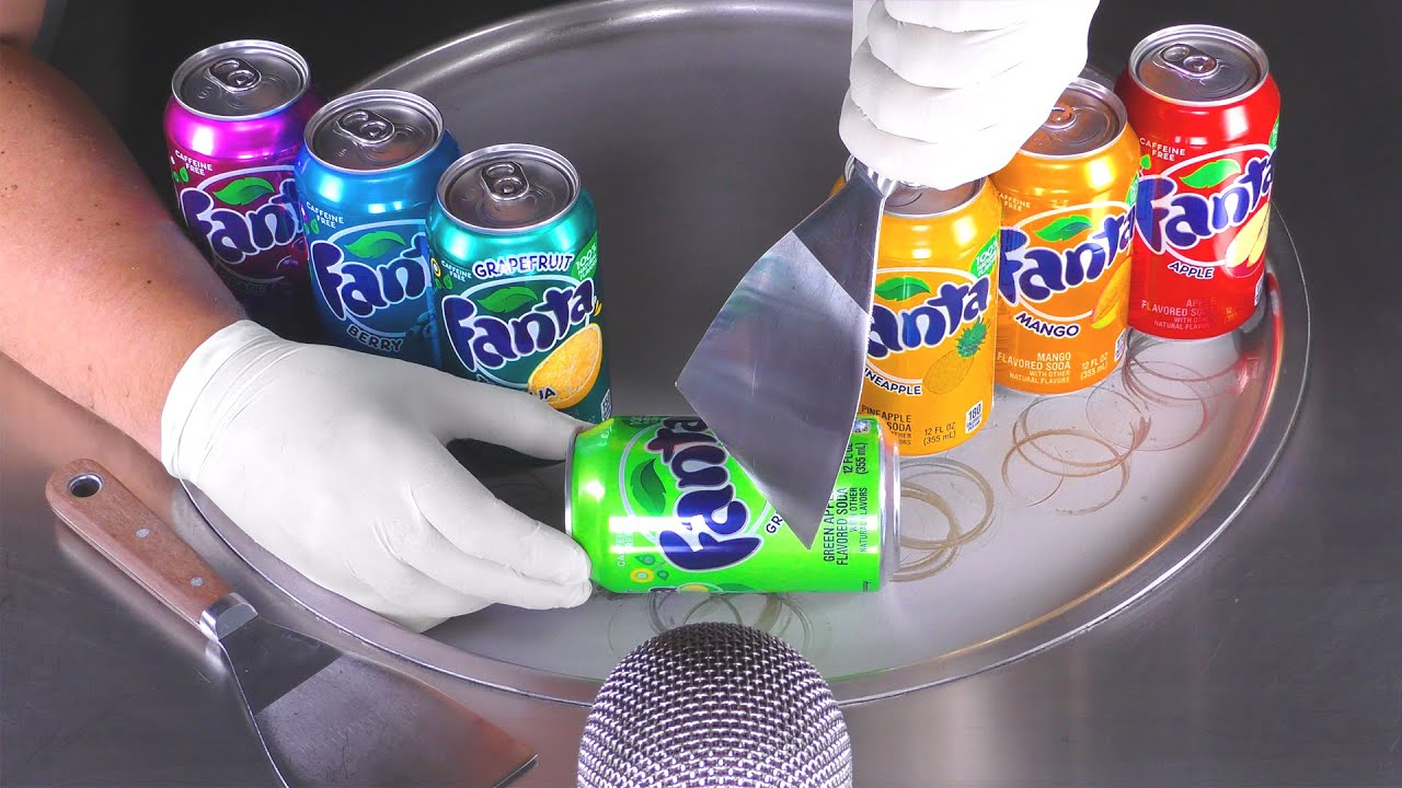ASMR - FANTA Ice Cream Crushing | oddly satisfying Food Fusion with Fanta Lemonade - Ice Cream Rolls