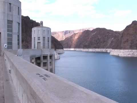 Hoover Dam Views of Lake Mead Waters Safety Boom and Towers on top of Dam between Nevada and Arizona
