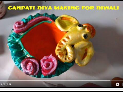 Ganpati diya making for diwali diya craft ideas youtube for Diya decoration youtube