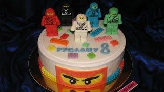Торт Лего Ниндзяго /LEGO Ninjago cake. Лепим Нинзяго из Мастики.