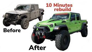 REBUILDING A WRECKED 2020 JEEP GLADIATOR IN 10 MINUTES