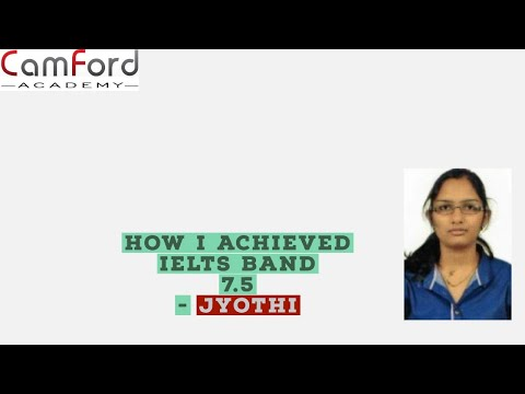 Camford IELTS Student JYOTHY scores 7.5 with Listening - 8.5, Reading -8,  Writing -7 & Speaking -7.