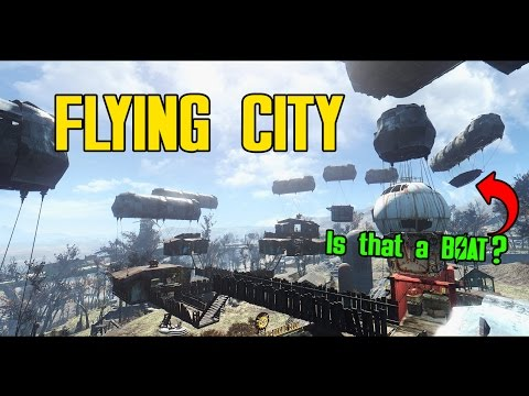 Fallout 4 - Epic Flying City Settlement! Sunshine Tidings Co. || Ultrawide Gaming // 21:9