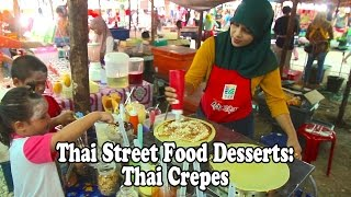 Street Food in Thailand. Cooking Crepes. Thai Street Food at a market in Krabi Thailand.