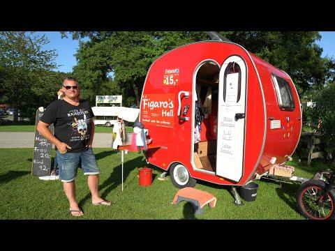 Kleinste Wohnwagen der Welt: Knaus Schwalbennest. Nur 565kg mit Doppelbett und voller Ausstattung.