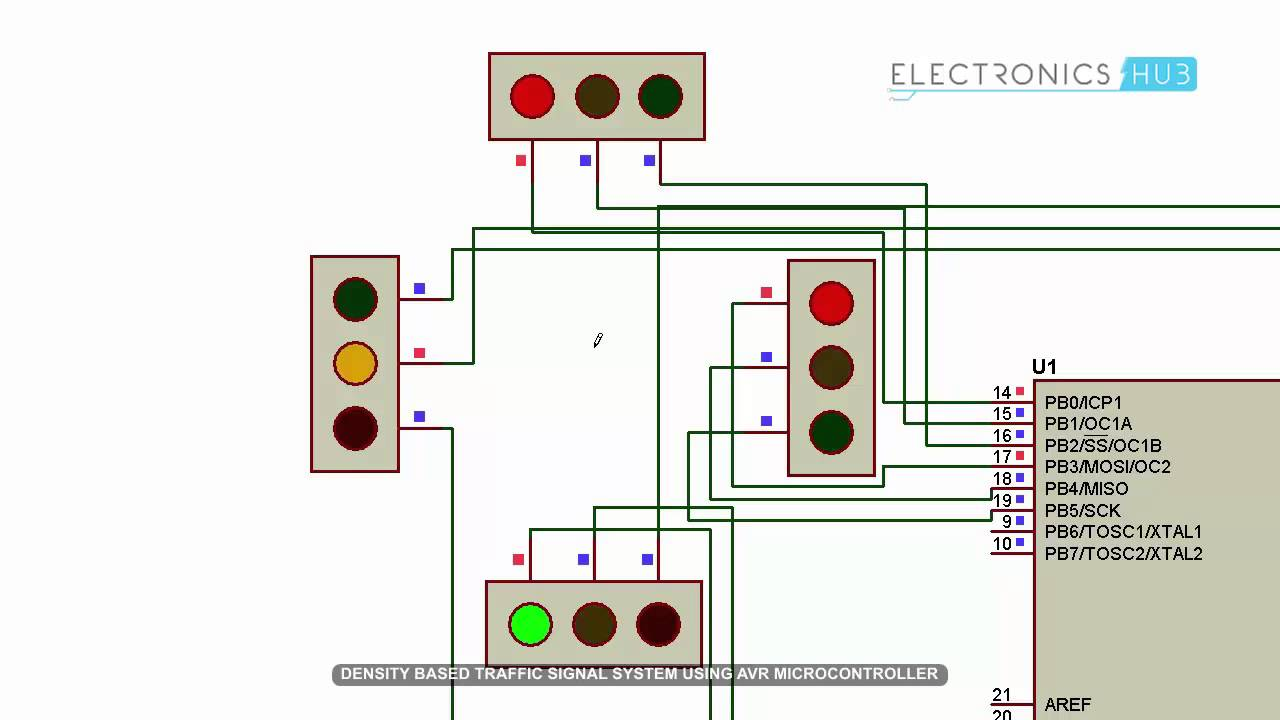 Light Wiring Diagrams Multiple Lights Density Based Traffic Signal System Using Microcontroller