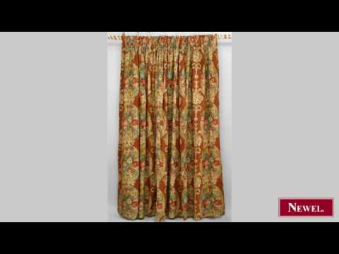 Antique Pair of printed linen drapes with floral design