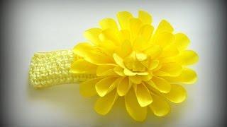Простой цветок из лент своими руками Повязка на голову