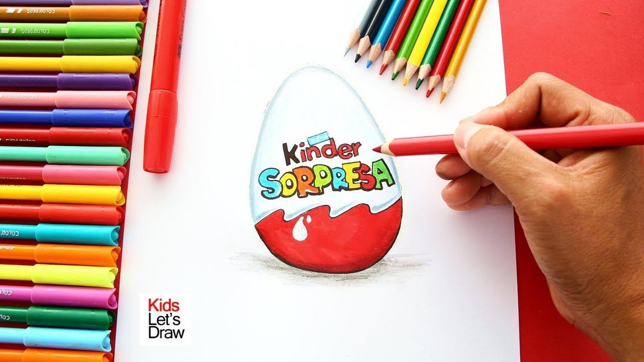 Cómo Dibujar Un Huevo Sorpresa Kinder How To Draw A Chocolate Kinder Surprise Egg