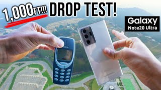 Samsung Galaxy Note 20 Ultra DROP TEST from 1000FT!! - vs NOKIA 3310