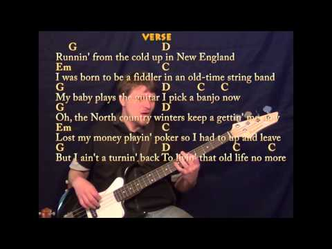 Wagon Wheel - Easy Bass Guitar in G - G Em C D - Easy Cover Lesson with Lyrics