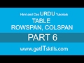 HTML and CSS in urdu / hindi, Tutorial 6 | Table, rowspan, colspan