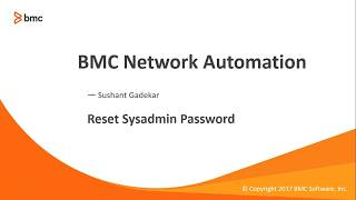 BNA: How to reset sysadmin Password