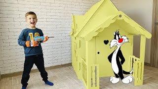 Марк сделал огромный домик из картона для кота. Видео для детей.