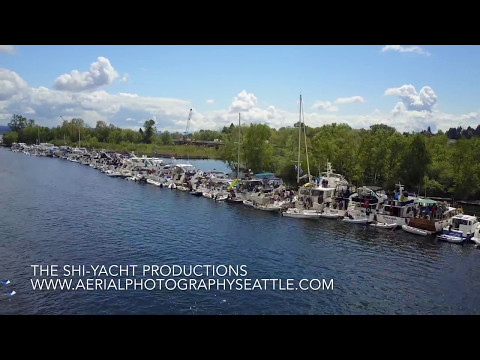 Opening Boating Day 2017 Seattle Windermere Cup - Log Boom Seattle Yachts Seafair Aerial Drone