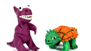 Лепка из пластилина. Тиранозавр. Как слепить динозавра из пластилина.