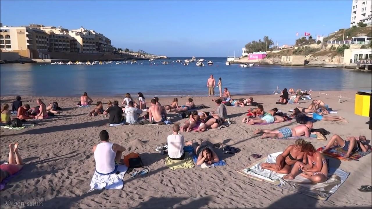 Beach in St  Julian's, Malta (St  George's Bay)