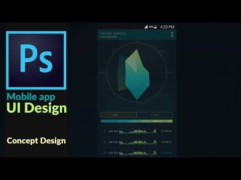 Mobile application UI Design concept in Adobes Photoshop