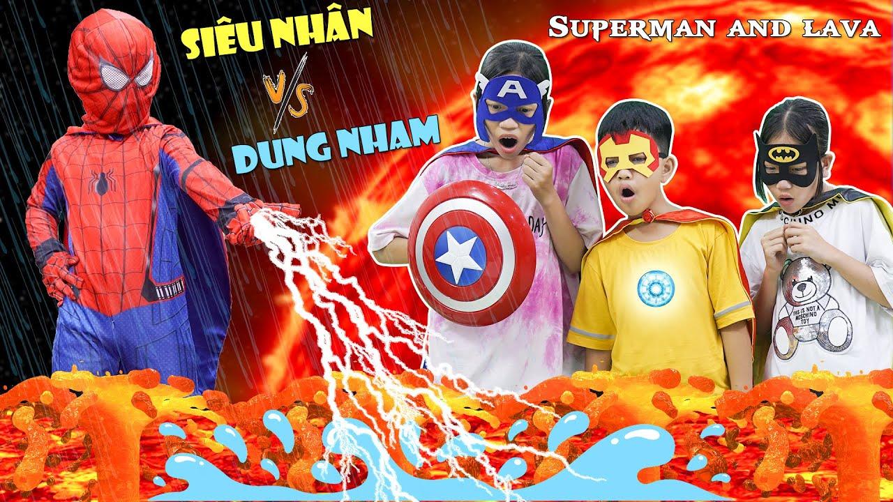 Siêu Anh Hùng Và Dung Nham | Superheroes And Lava ♥ Min Min TV Minh Khoa