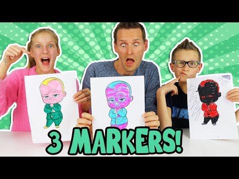 3 MARKER CHALLENGE w/ our DAD!!!