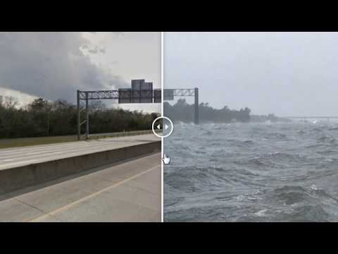 Highway looks like an ocean, with waves, Interstate 10, south of Beaumont, Texas,