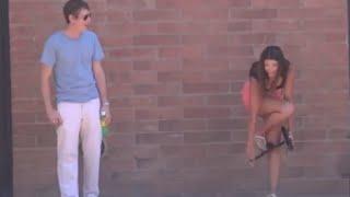 Girl taking off her Panties In Public Prank