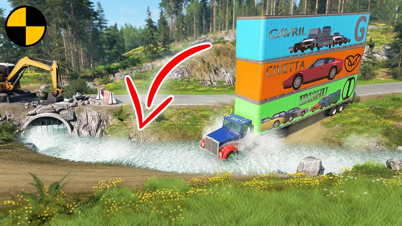 Download Cars vs Fast Flowing River 😱 BeamNG.drive