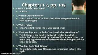 Ender's Game Study Guide chapters 1 and 2