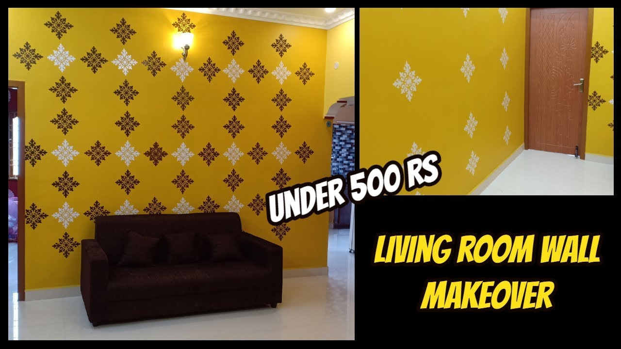 Living Room Wall Makeover Under Rs 500 Stencil Painting Youtube