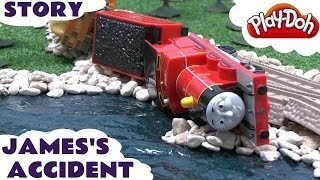 play doh thomas the train story accident crash james rocky thomas tank playdough diggin rigs chuck