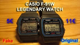 CASIO F-91W  genuine & fake.  Deep comparison with disassembly.
