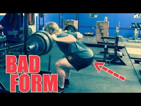 Squatting 315 lbs. with BAD FORM : Hips Shooting Back - YouTube