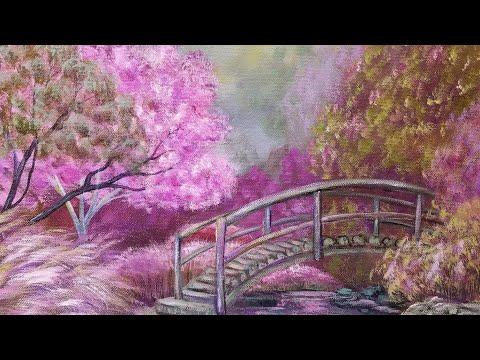 Purple Fantasy Garden Landscape Acrylic Painting Live Free