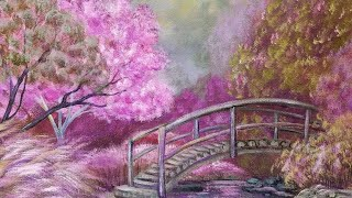 Purple Fantasy Garden Landscape Acrylic Painting Live FREE Step by Step Tutorial
