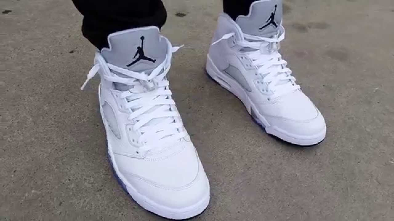 lowest price 3792a f4e77 NIKE AIR JORDAN V 5 WHITE METALLIC SILVER/BLACK 2015 REMASTERED ON FEET  REVIEW HEAT!