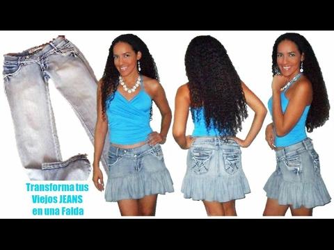 Como hacer una Falda de Jean Reciclado - Tutorial de SANDRA PADILLA