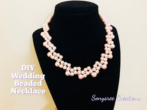 DIY Wedding  Beaded Necklace 💞.How to make beaded necklace. DIY jewelry project 💞