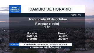 CAMBIO DE HORARIO DE INVIERNO SE DARÁ LA MADRUGADA DEL 28 DE OCTUBRE