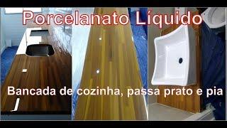Porcelanato Liquido em bancada de madeira