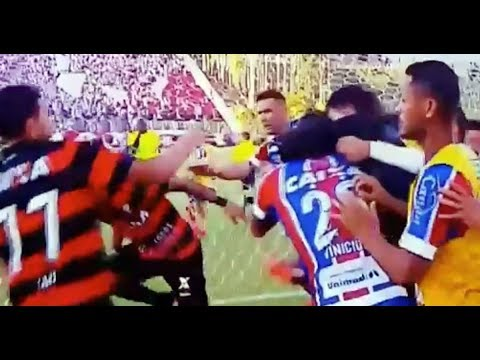 Brazilian football match ABANDONED when red cards reduce one team to six players and nine in