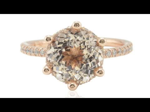 Rose Gold Engagement Ring With 9mm Round Morganite and Diamonds